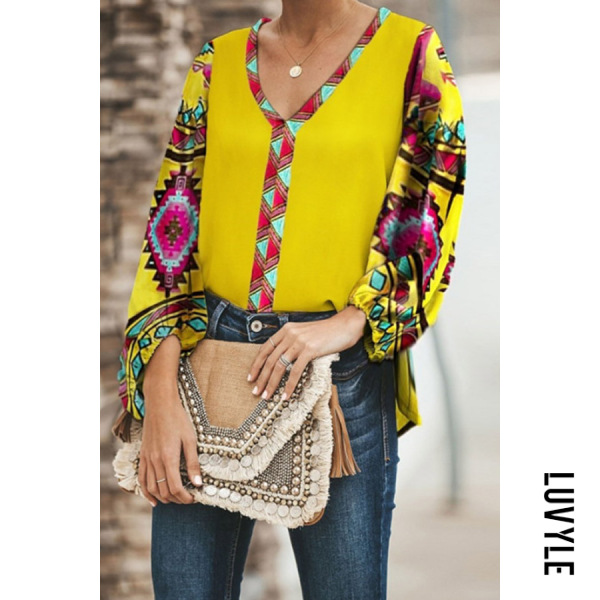 Yellow V Neck Bohemian Long Sleeve Casual T-Shirt Yellow V Neck Bohemian Long Sleeve Casual T-Shirt