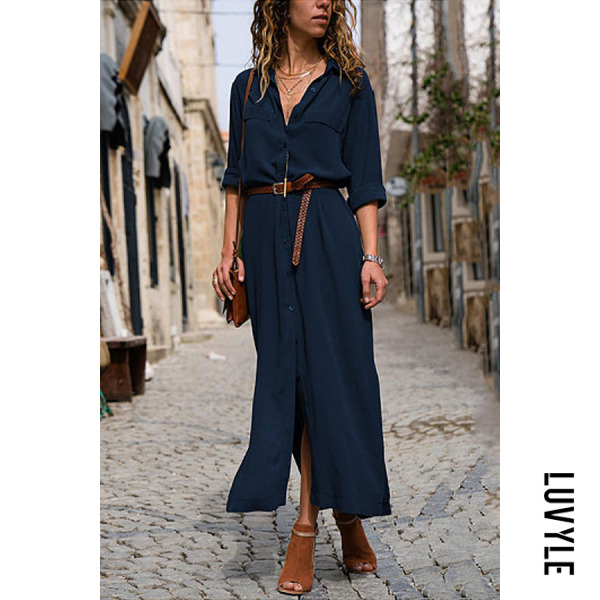 Blue Fashionable Loose Long Sleeved Maxi Dress Blue Fashionable Loose Long Sleeved Maxi Dress