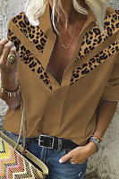 Fashion Long Sleeve Paneled Leopard Shirt