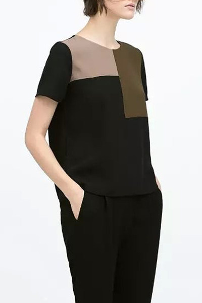Round Neck  Loose Fitting Seamless  Contrast Stitching  Color Block Patchwork T-Shirts
