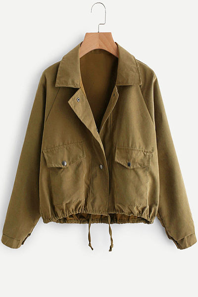 Fold Over Collar  Drawstring  Plain Jackets