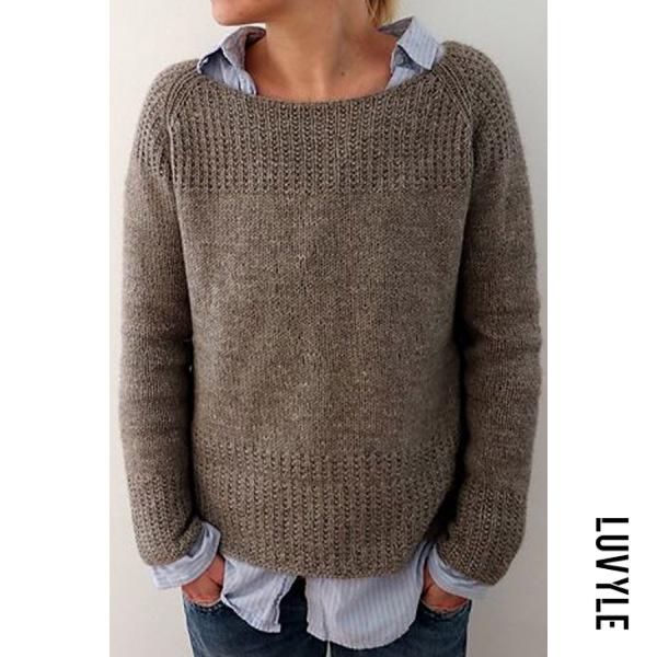 Women Casual Round Neck Plain Sweater - from $30.00