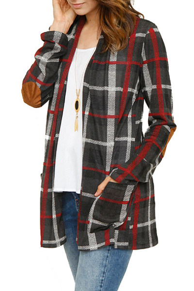 Kangaroo Pocket  Gingham  Casual Cardigans