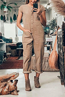 Pure Color Short-Sleeved Single-Breasted Casual Jumpsuit