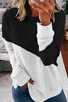 Casual Long-sleeved Contrast Color Loose Sweatershirt