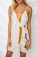 Spaghetti Strap V Neck  Ruched  Striped  Sleeveless Bodycon Dresses