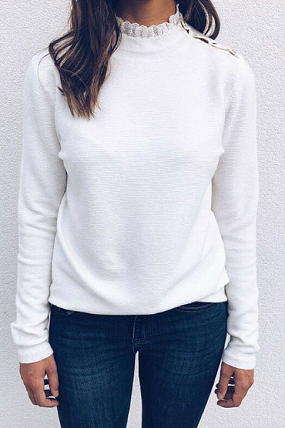 Round Neck Lace-Up Casual T-Shirt