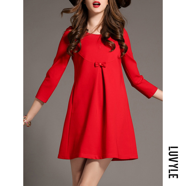 Red Round Neck Bowknot Plain Polyester Shift Dress Red Round Neck Bowknot Plain Polyester Shift Dress