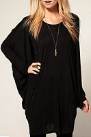 Round Neck  Loose Fitting  Plain  Batwing Sleeve T-Shirts