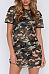 Round Neck  Camouflage  Short Sleeve Casual Dresses
