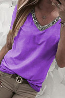 V Neck  Glitter  Patchwork T-Shirts
