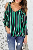 Open Shoulder V Neck  Vertical Striped Shirts
