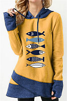 Casual Long Sleeve Colouring Fish Elephant Printed Hoody Sweatshirt
