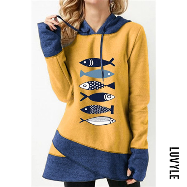 Yellow Casual Long Sleeve Colouring Fish Elephant Printed Hoody Sweatshirt Yellow Casual Long Sleeve Colouring Fish Elephant Printed Hoody Sweatshirt