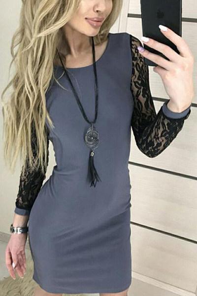 Round Neck  Decorative Lace  Plain  Long Sleeve Bodycon Dresses