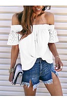 Casual Shoulder Lace Short Sleeve T-Shirt