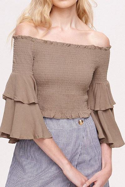 Open Shoulder  Flounce Ruffle Trim  Tiered  Plain T-Shirts