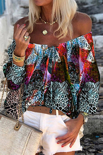 Word Collar Color Block Printed Blouse