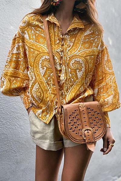 Fashion print long sleeve shirt