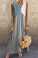 V Neck Sleeveless Colouring Maxi Dress