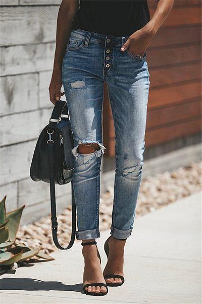 Broken Holes  Plain Jeans