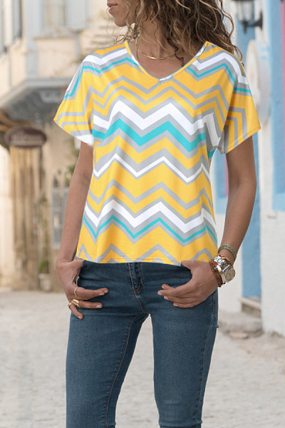 V Neck  Zigzag Striped T-Shirts