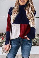Round Neck  Patchwork  Basic  Sweaters