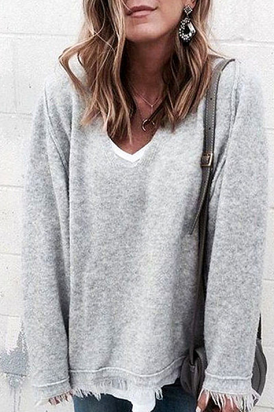 V  Neck  Asymmetric  Hem  Sweaters