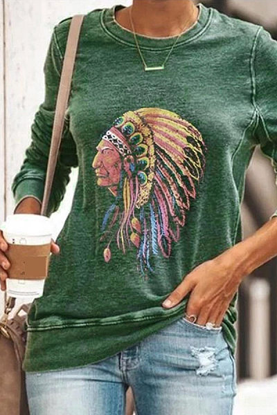 Brief Round Neck Tribal Printed T-Shirt