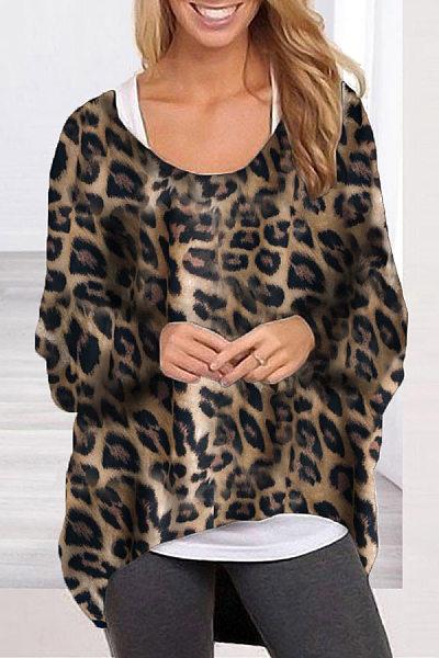 Round Neck Asymmetric Hem Leopard Batwing Sleeve T-Shirt