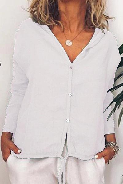 Hat Collar Plain Casual Shirt