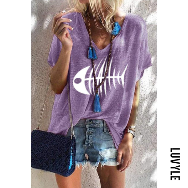 Purple V Neck Printed T-Shirts Purple V Neck Printed T-Shirts