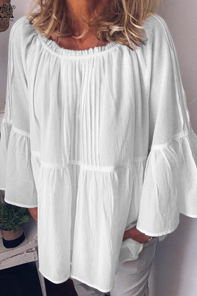 Ruffle Solid Loose Casual Blouse