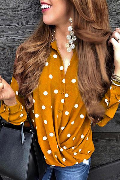 Ladies Fashion Polka Dot Long Sleeve Shirt