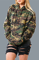 Hooded Loose Fitting Camouflage Drawstring Long Sleeve Hoody