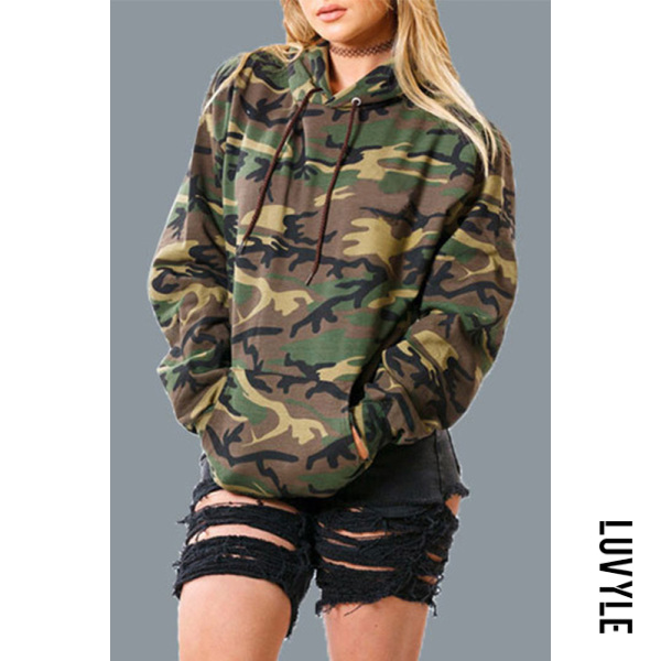 Multi Hooded Loose Fitting Camouflage Drawstring Long Sleeve Hoody Multi Hooded Loose Fitting Camouflage Drawstring Long Sleeve Hoody