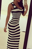 Round Neck  Striped  Sleeveless Bodycon Dresses