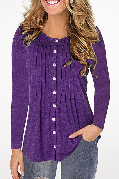 Round  Neck  Patchwork  Casual  Plain  Long Sleeve T-Shirts