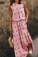 Casual Round Neck Polka Dot Print Sleeveless Slit Long Dress