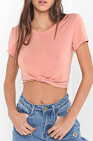Round Neck  Exposed Navel  Plain T-Shirts