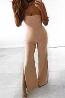 Strapless  Side Slit  Plain  Sleeveless Jumpsuits