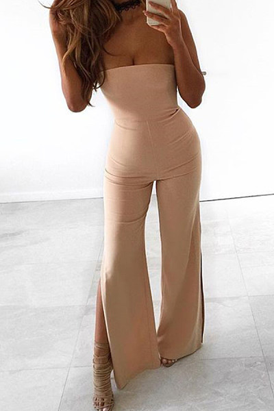Strapless  Side Slit  Plain  Sleeveless Jumpsuits
