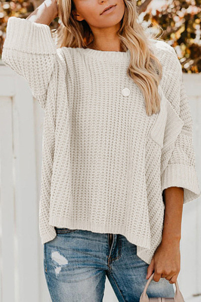 Round Neck Loose-Fitting Pocket Sweater