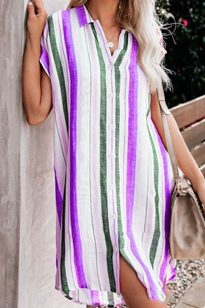 2020 Summer Colorful Casual Stripe Dress