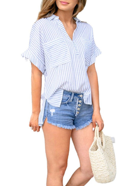 Turn Down Collar  Kangaroo Pocket  Stripes  Blouses