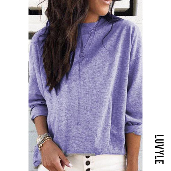 Purple Round Neck Loose-Fitting Casual T-Shirt Purple Round Neck Loose-Fitting Casual T-Shirt