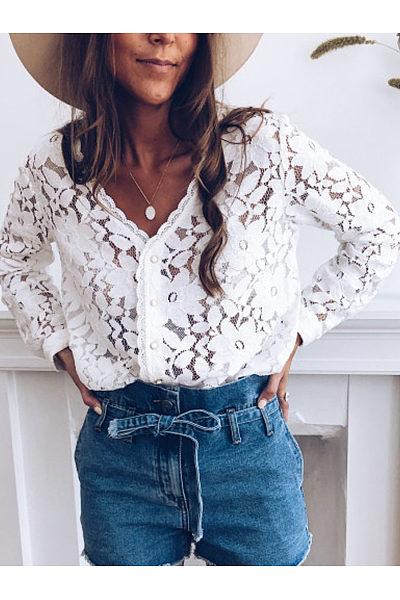 Fashion V-Neck Long Sleeve Pattern Hollow Blouse