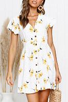 V Neck  Single Breasted  Printed  Short Sleeve Skater Dresses