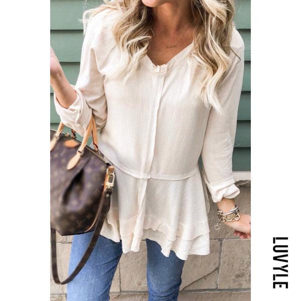 V Neck Irregular Hem Plain T-shirt - from $22.00