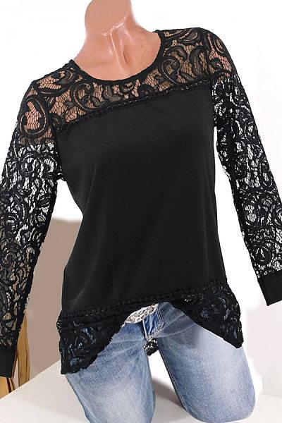 Round  Neck  Patchwork  Elegant  Lace Plain  Long Sleeve  T-Shirts